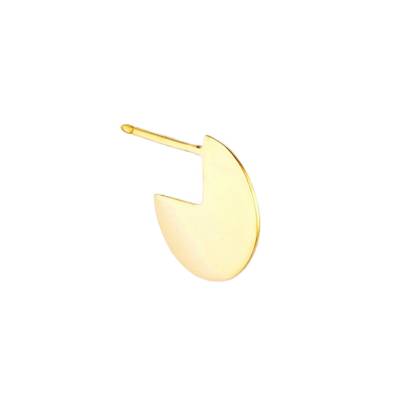 Yellow Gold Single Disc Earring