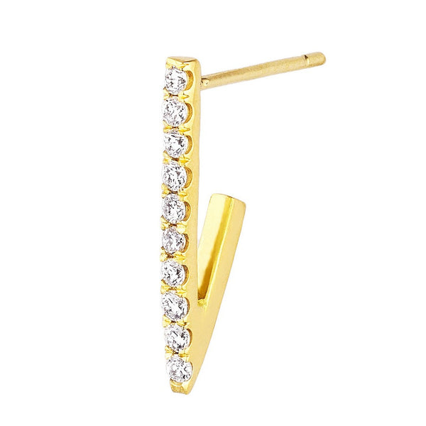 Pave White Diamond Triangle Hoop Single Earring Small