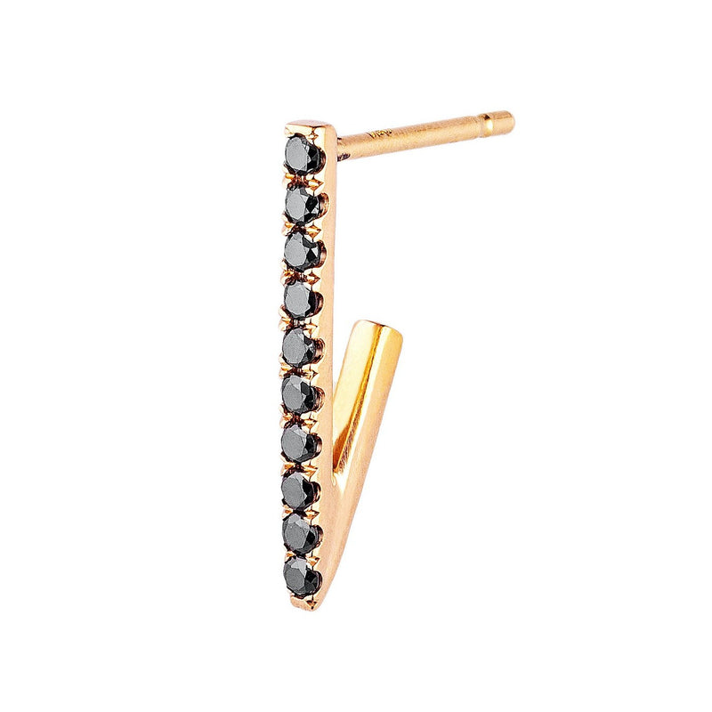 Pave Black Diamond Triangle Hoop Single Earring Small Rose Gold