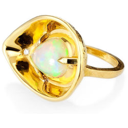 Best Fine Jewelry Colored Ring Ethiopian opal diamond petal