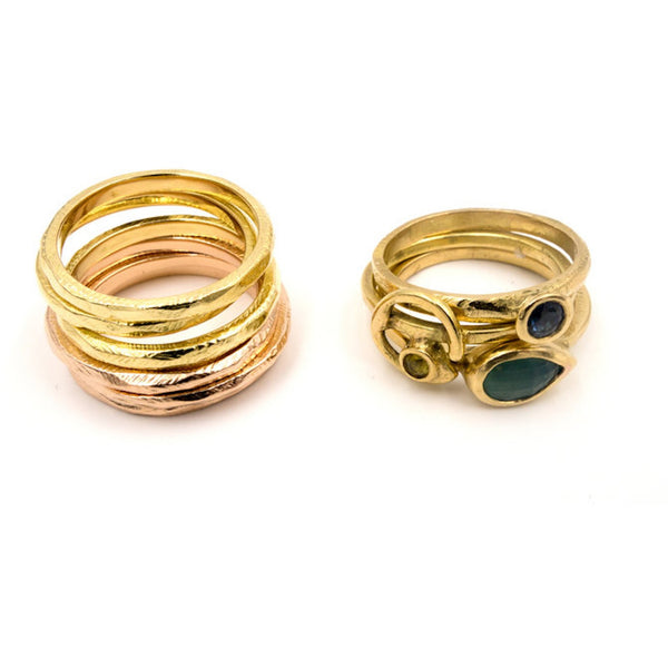 18k yellow and rose gold stack rings