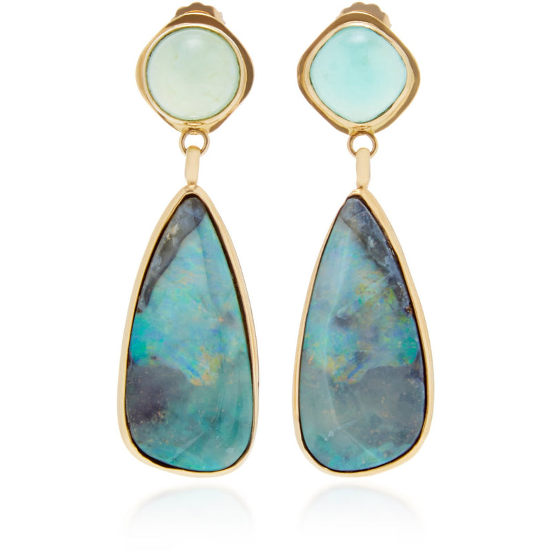 Best Colored Earrings Fine Jewelry Hand Crafted Couture bespoke custom Drop Earrings Australian boulder opal Peruvian blue opal opal