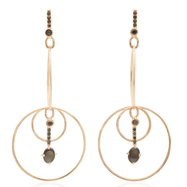 Black Star Sapphire & Black Diamond Drop Hoop Earrings 18k Rose Gold