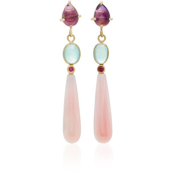 Amethyst, Peruvian Blue Opal, Ruby, & Pink Conch Drop Earrings 18K yellow gold