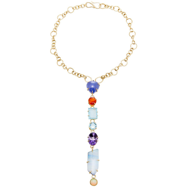 Best Colored necklace Fine Jewelry luxury amethyst blue topaz Australian boulder opal Ethiopian opal Mexican fire opal opal tanzanite blue topaz Hand Crafted Couture bespoke custom Drop choker