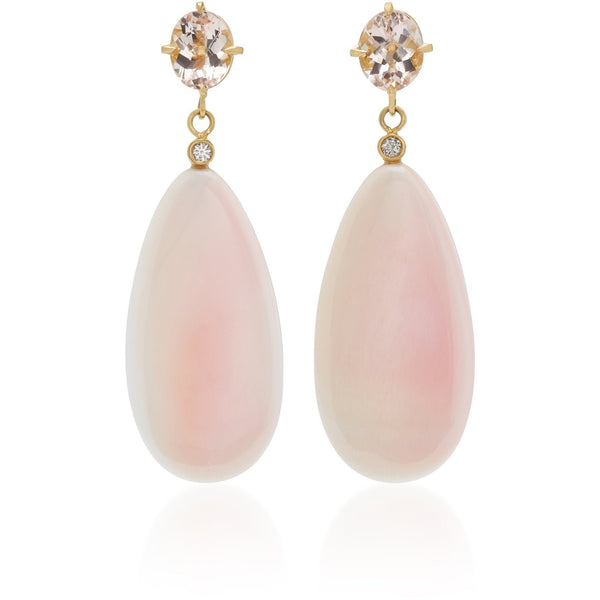 Morganite, Diamond & Pink Conch Drop Earrings 18K yellow gold