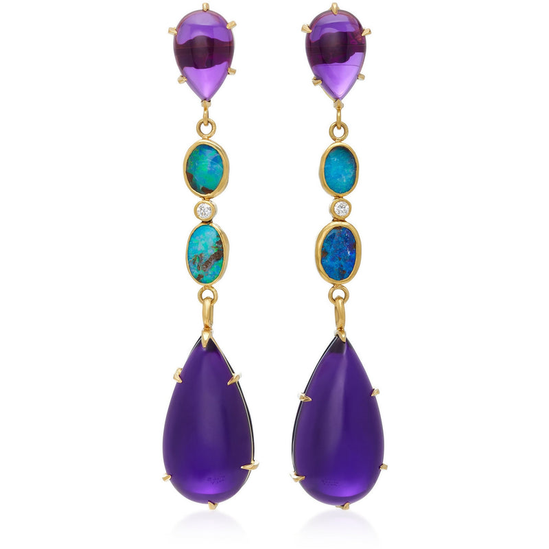 Best Colored Earrings Fine Jewelry Hand Crafted Couture bespoke custom Drop Earrings Australian boulder opal diamond amethyst 18k gold