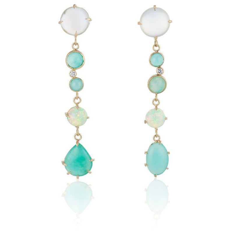 best colored stone gold drop earrings couture fine jewelry hand crafted kardashian 18K Gold Emerald Opal and Diamond Long Earrings