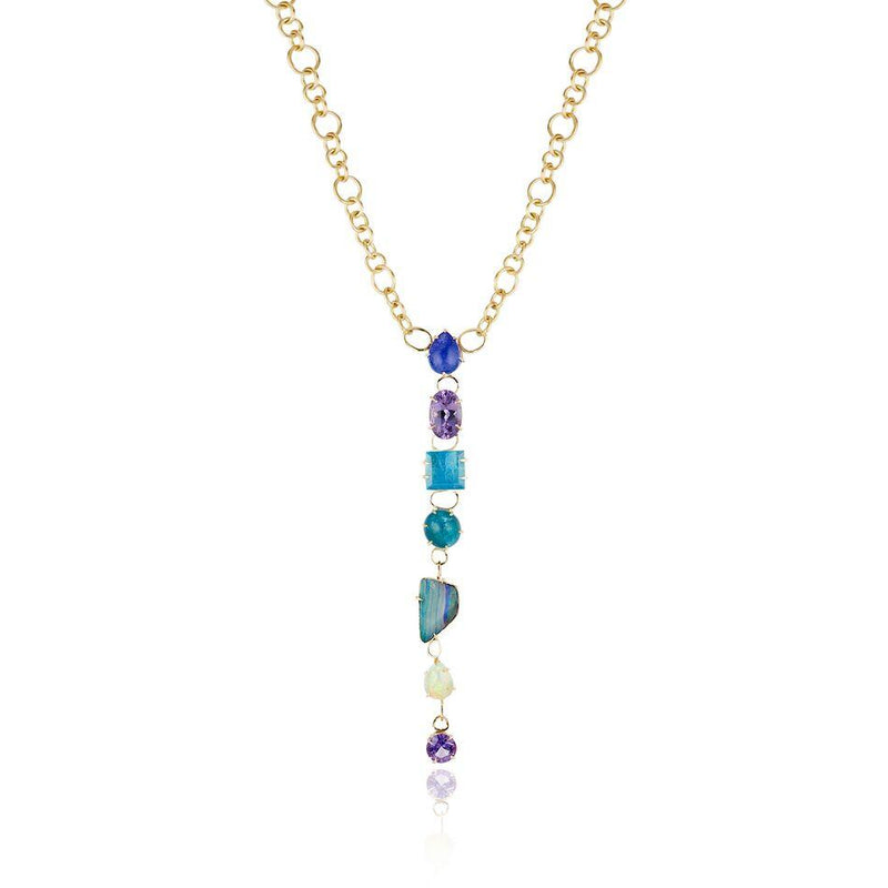 Best Colored necklace Fine Jewelry Hand Crafted Couture bespoke custom  drop necklace tanzanite amethyst aquamarine apatite opal