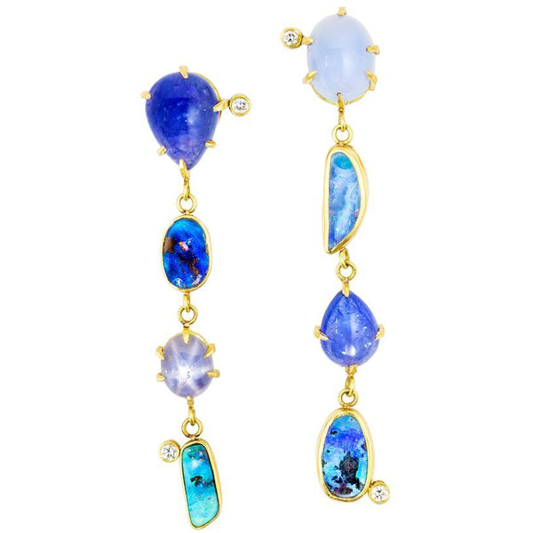 18k yellow gold long earrings