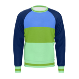 color block sweater blue-green