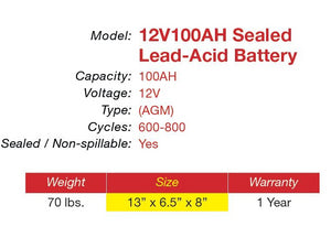 12V 100AH AGM Battery