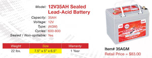 12V 35AH AGM Battery