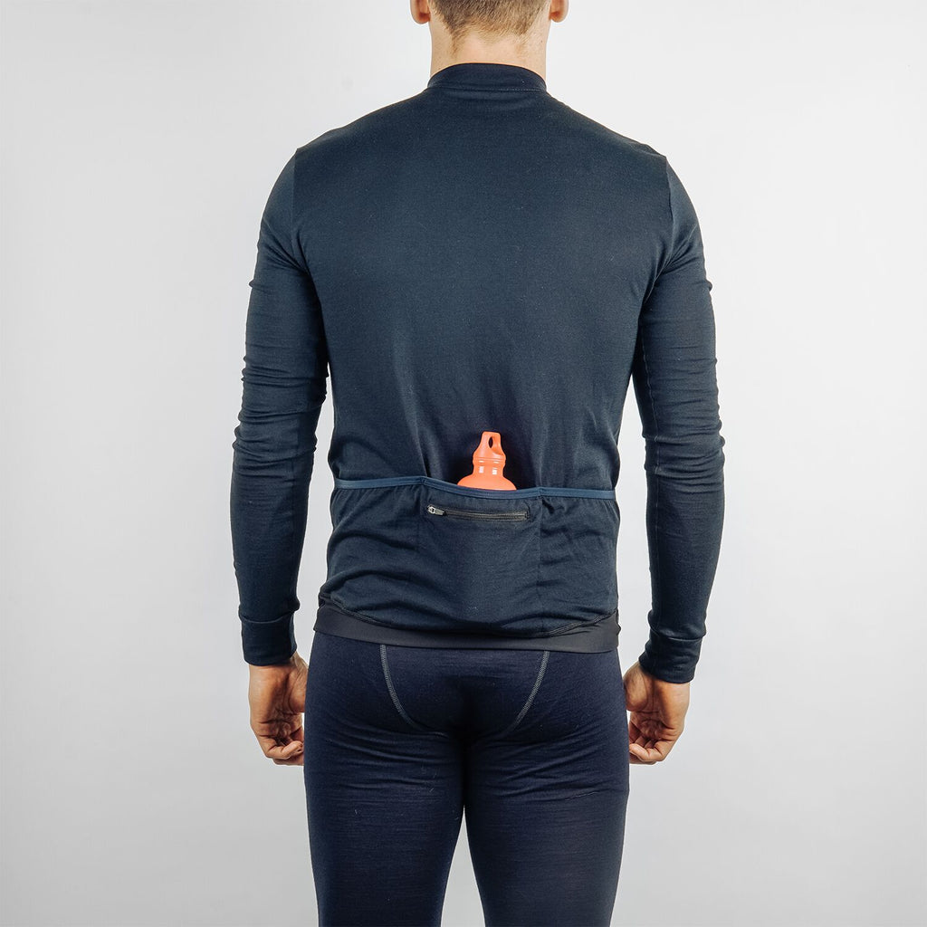 Cycling jersey in 100% merino wool navy