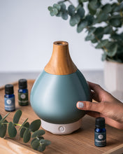 Load image into Gallery viewer, Green Glass Vase Diffuser with Wood Neck