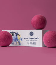 Load image into Gallery viewer, Bright Pink Wool Dryer Balls Set of 3