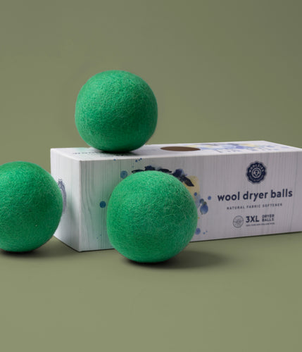 Green Wool Dryer Balls Set of 3
