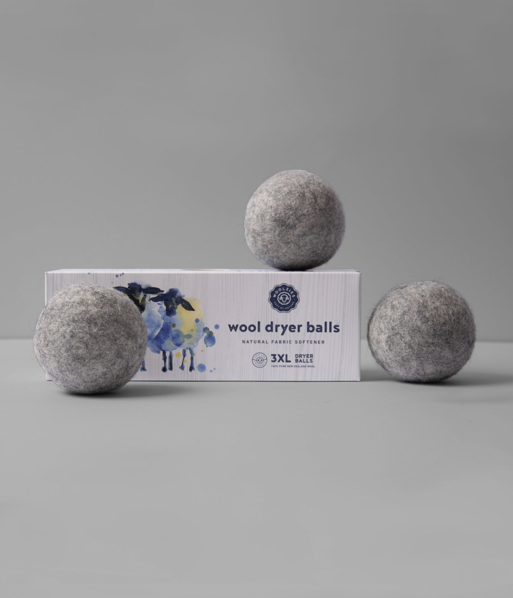 Grey Wool Dryer Balls Set of 3