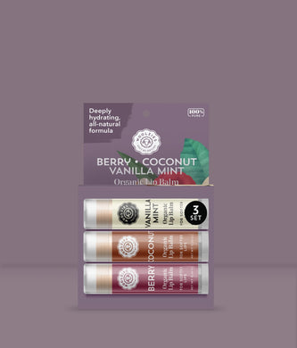 Berry, Coconut, Vanilla Mint Lip Balm Set of 3