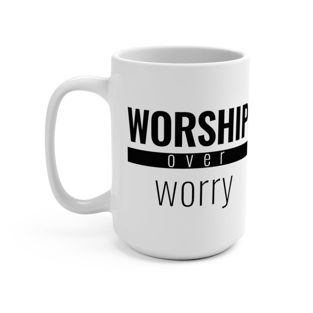 Worship Over Worry - Red Bar Mug - Overwear Gear