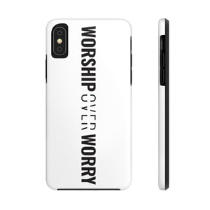 Worship Over Worry - Tough Phone Case (White) - Overwear Gear