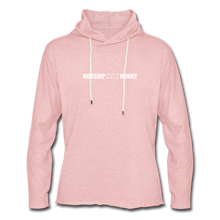 Load image into Gallery viewer, Worship Over Worry - Lightweight Hoodie - cream heather pink