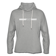 Load image into Gallery viewer, Worship Over Worry - Lightweight Hoodie - heather gray