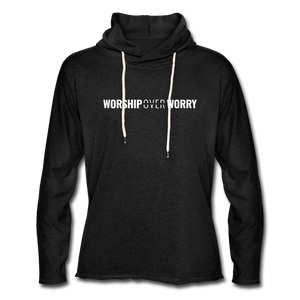 Worship Over Worry - Lightweight Hoodie - charcoal gray