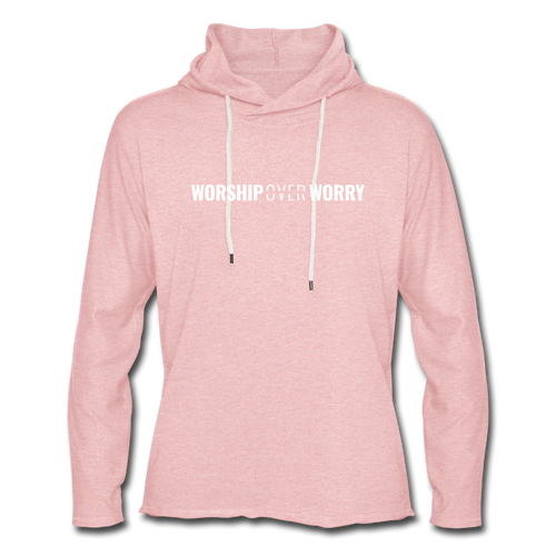 Worship Over Worry - Lightweight Hoodie - cream heather pink