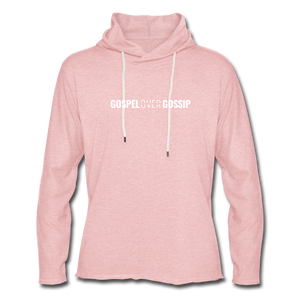Gospel Over Gossip - Lightweight Hoodie - cream heather pink