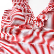 Load image into Gallery viewer, Striped Swimsuit One Piece Ruffled Push Up Padded
