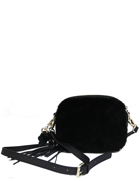 Medium Sheepskin Shoulder Bag with Tassles