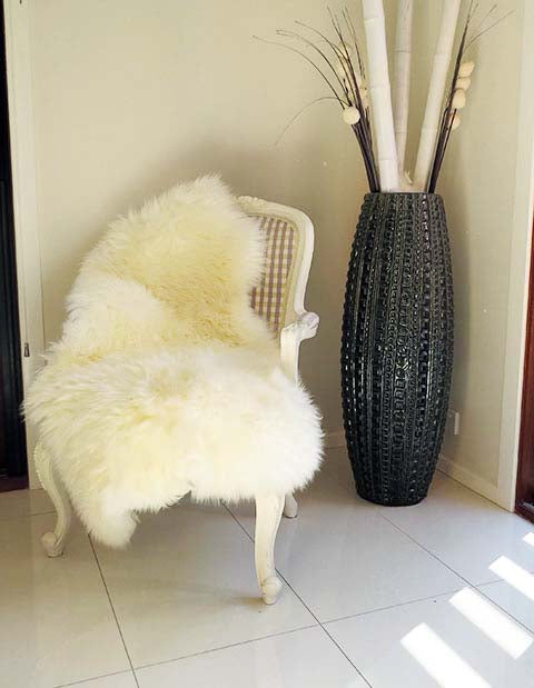 Single Long Wool Sheepskin Rug 115cm