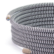 Load image into Gallery viewer, Black & White Zig Zag Round Fabric Braided Lighting Cable | 3 Core - TheCable.Store