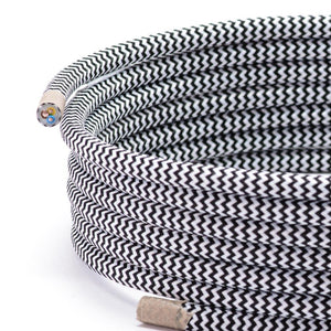 Black & White Zig Zag Round Fabric Braided Lighting Cable | 3 Core - TheCable.Store