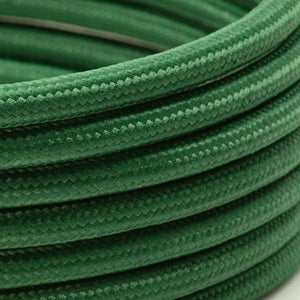 Dark Green Round Fabric Lighting Cable | 3 Core - TheCable.Store