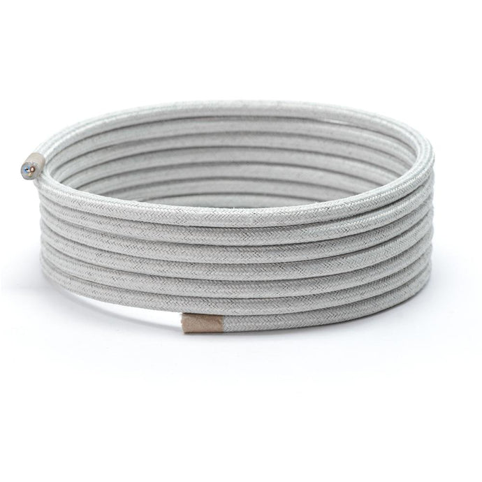 Grey Canvas Round Fabric Lighting Cable | 3 Core - TheCable.Store