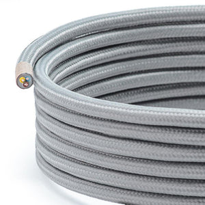 Grey Round Fabric Lighting Cable | 3 Core - TheCable.Store