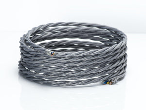 Grey Twisted Fabric Lighting Cable | 3 Core - TheCable.Store