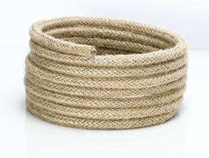 Jute/Hessian Round Fabric Lighting Cable | 3 Core - TheCable.Store