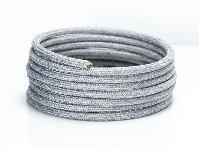 Light Grey Linen Round Fabric Lighting Cable | 3 Core - TheCable.Store