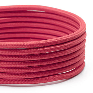 Red Round Fabric Lighting Cable | 3 Core - TheCable.Store