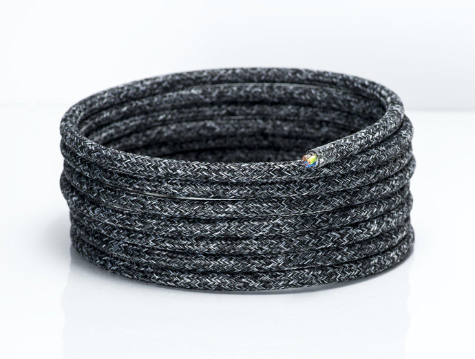 Speckled Black Linen Round Fabric Lighting Cable | 3 Core - TheCable.Store