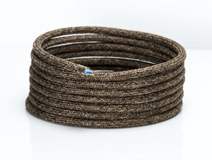 Speckled Brown Linen Round Fabric Lighting Cable | 3 Core - TheCable.Store