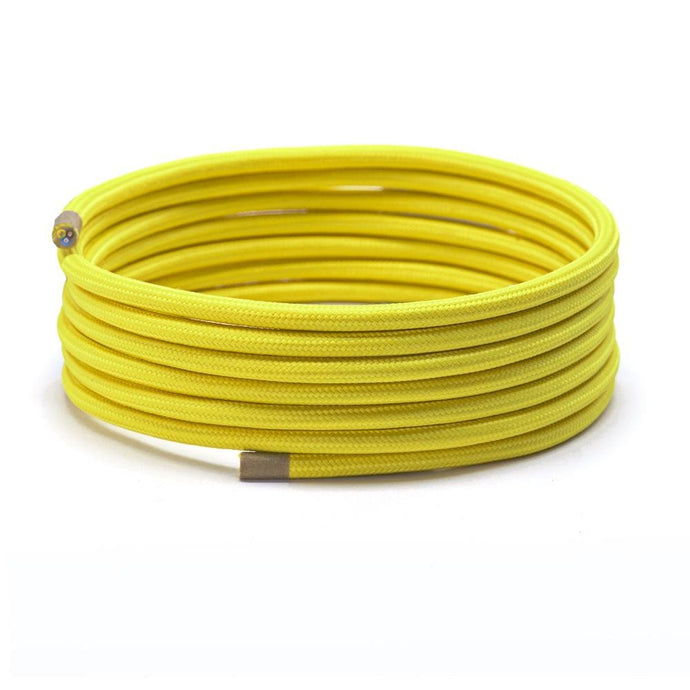 Yellow Round Fabric Lighting Cable | 3 Core - TheCable.Store