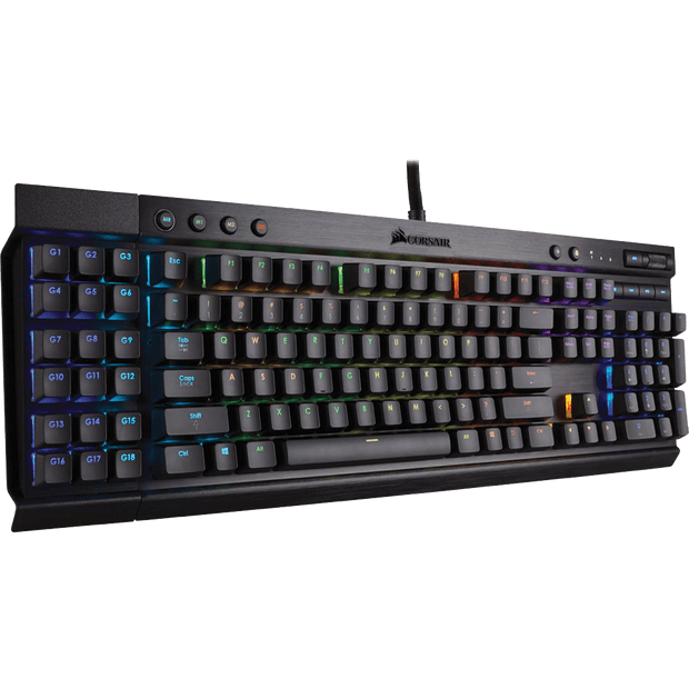 Corsair K95 RGB PLATINUM Mechanical Gaming Keyboard - CHERRY MX Speed CH-9127114-NA without panel angular view