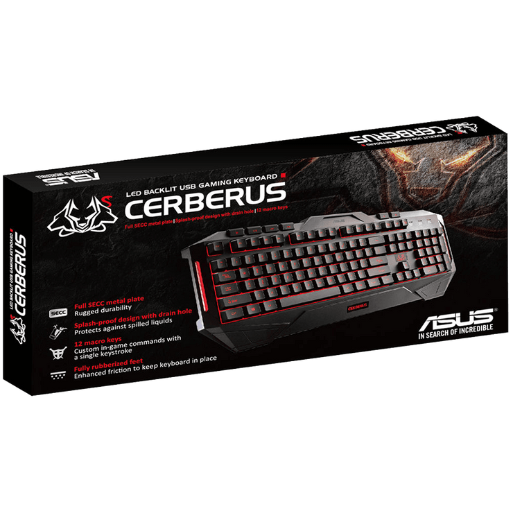 ASUS Cerberus Gaming Keyboard CerberusKeyboard box angular view