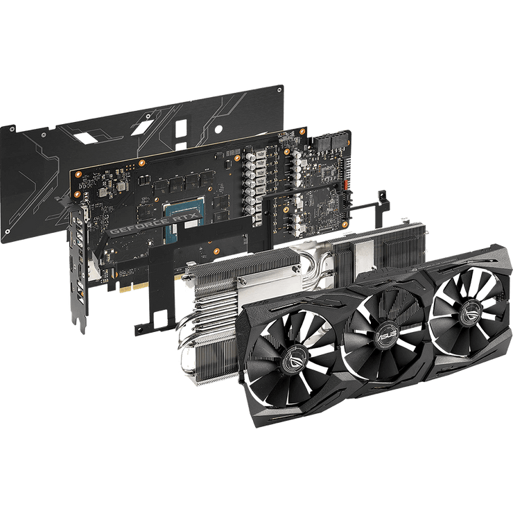 ASUS ROG Strix GeForce RTX 2070 Graphics Card ROG-STRIX-RTX2070-8G-GAMI components view
