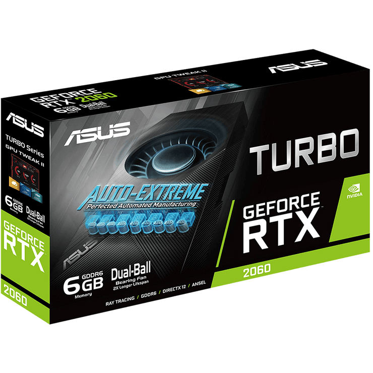 ASUS Turbo GeForce RTX 2060 Graphics Card TURBO-RTX2060-6G box view