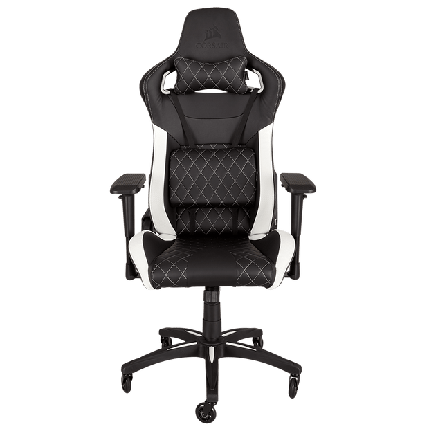 CORSAIR T1 RACE 2018 Gaming Chair - Black/White CF-9010012-WW front view